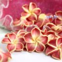 Small fimo flowers, Fimo, Pinkish red, Light Yellow, 20mm x 20mm x 10mm, 1  piece, (DDH013)